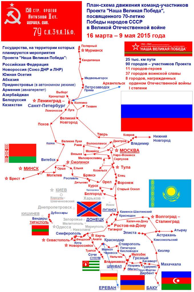 """План-схема движения команд-участников проекта """"Наша Великая Победа"""""""